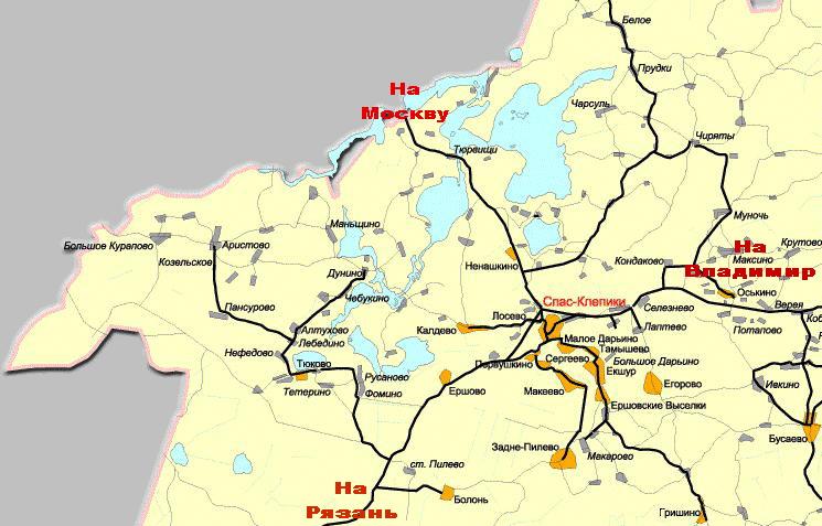 Карта схема клепиковского района